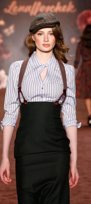 Lena Hoschek AW 2016 love the skirt, loath the suspenders. They don't function here... cant. The skirt is fitting at the waist and high so no need. ugh, I hate functional items used as decoration only for myself.