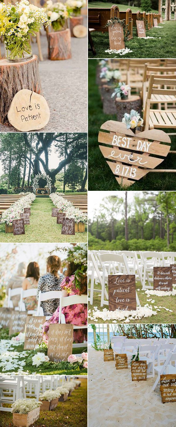 outdoor wedding aisle decoration ideas with wood for 2017 trends