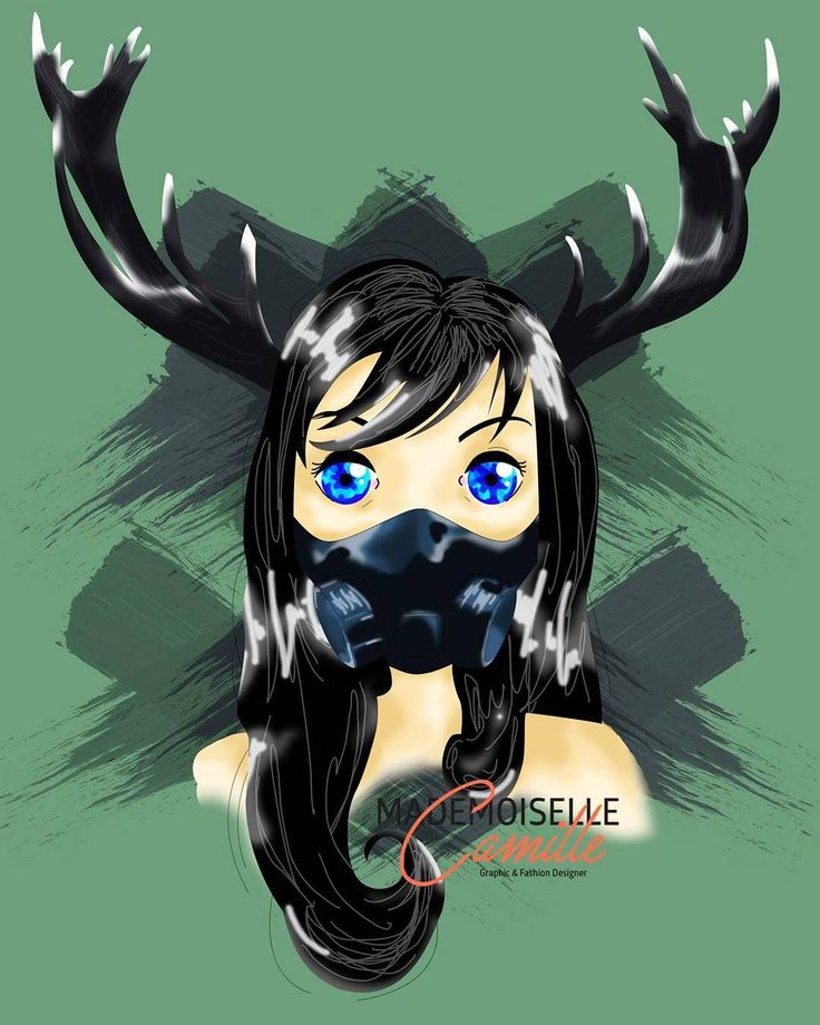 Oh deer !  I'm seeing my fav bands @sleepingwithsirens and @crowntheempire tonight, so it deserve a drawing ! 🎶✏⚡  .  #art #show #metal #punk #girl #digitalpainting #green #dowhatwewant #brush #portrait #doll #bizarre #deer #drawing #photoshop #mondaymotivation