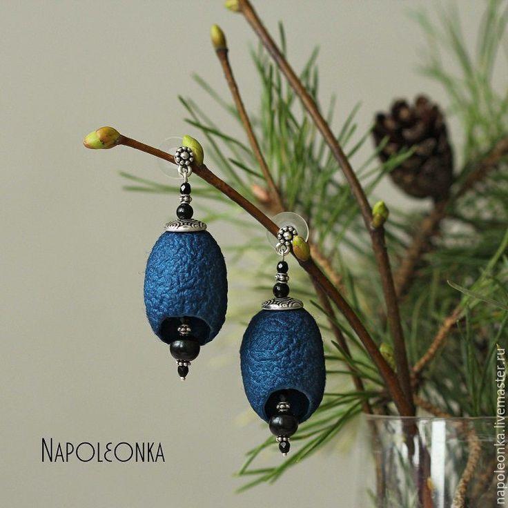 Купить Серьги с коконами шелкопряда, гагатом, агатом и серебром. - тёмно-синий, украшения из коконов, кокон