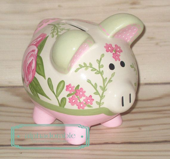 SMALL roses for bella artisan hand painted ceramic piggy bank personalized by Alphadorable, $52.00