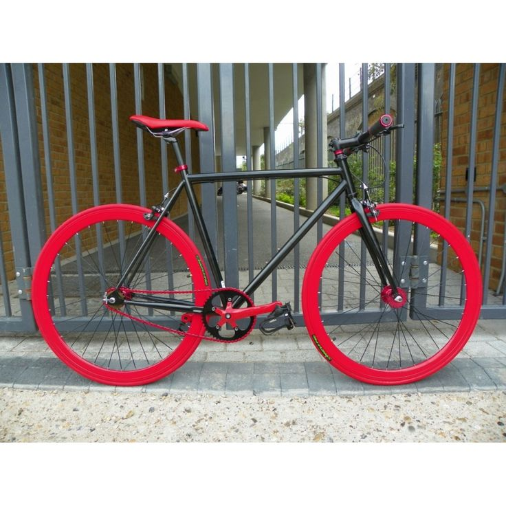 Black frame, Red Wheels #fixie #fixed #bicycle