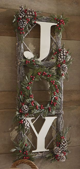 Just found this Holiday+Wall+Decor+-+Twig+and+Pinecone+Joy+Sign+--+Orvis on Orvis.com!