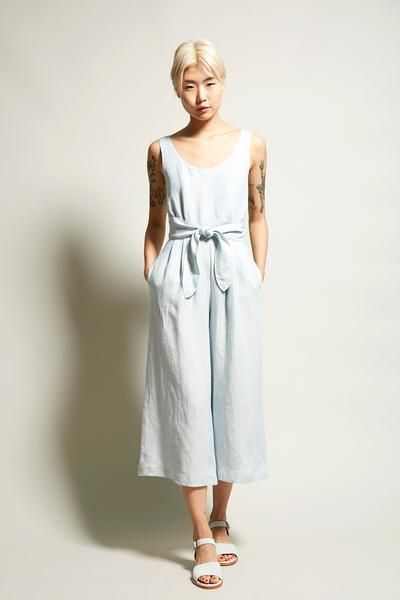 No.6 Alice Jumpsuit in Light Blue Engineer Stripe Linen