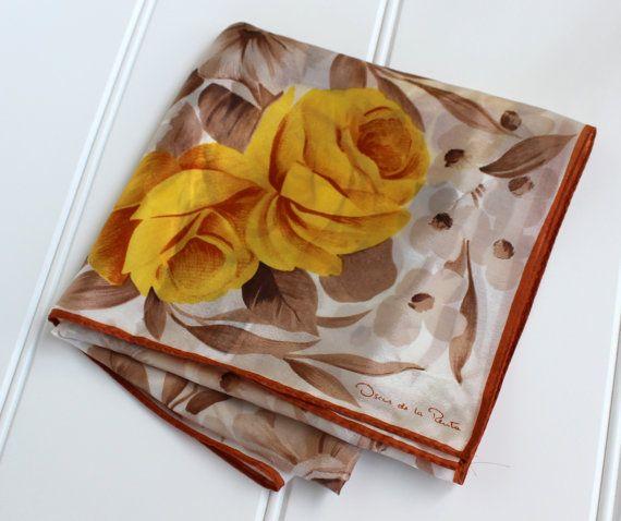 Vintage Oscar de La Renta Scarf  Signed Silk  by catnapcottage
