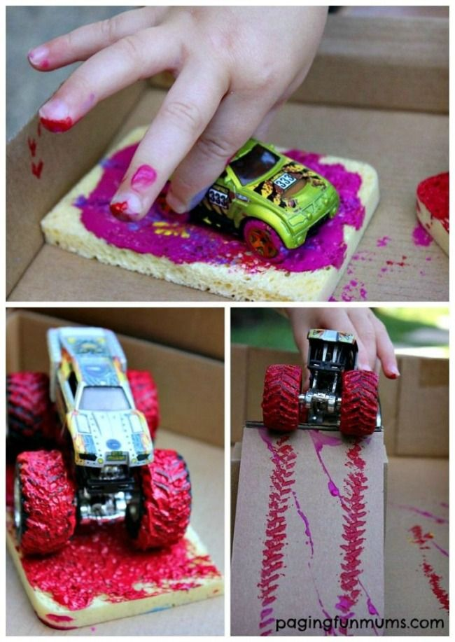 Rev up craft time by mixing paint and Hot Wheels! Have your little ones drive their favorite cars through paint to create fun and unique works of art!