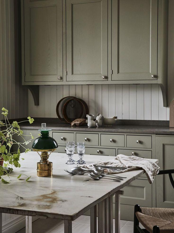 Kitchen: sage cabinets, white headboard backsplash, white ...