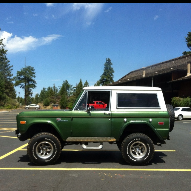green and white bronco