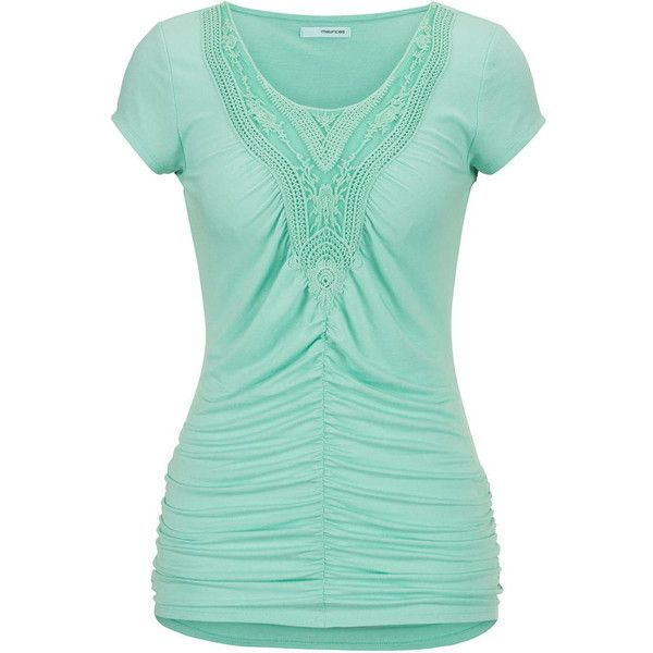 maurices Crochet And Cinched Front Tee ($26) ❤ liked on Polyvore featuring tops, t-shirts, shirts, mint creme, mint green shirt, cream t shirt, mint shirt, mint green top and green t shirt
