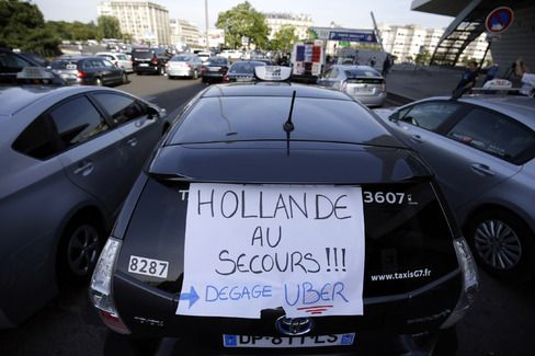 Anti-Uber Taxi Protest Blocks Access to Paris's Roissy Airport - BLOOMBERG #AntiUber, #Protests, #Paris, #World