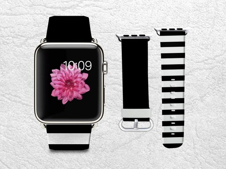 Classic Black & White Stripes Apple Watch Band, 42mm/38mm Genuine Leather Strap Wrist Band Replacement with Metal Clasp for Apple Watch All Models 42mm/38mm iWatch Strap -W2