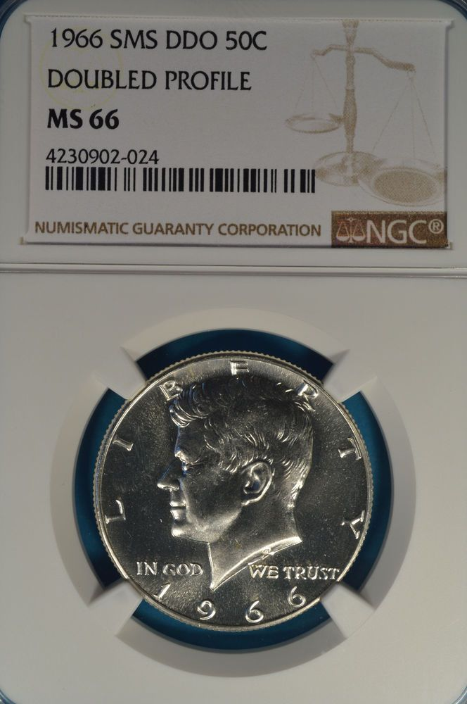 1966 SMS Kennedy Half Dollar NGC MS66- Doubled Profile, Nice Bright Example