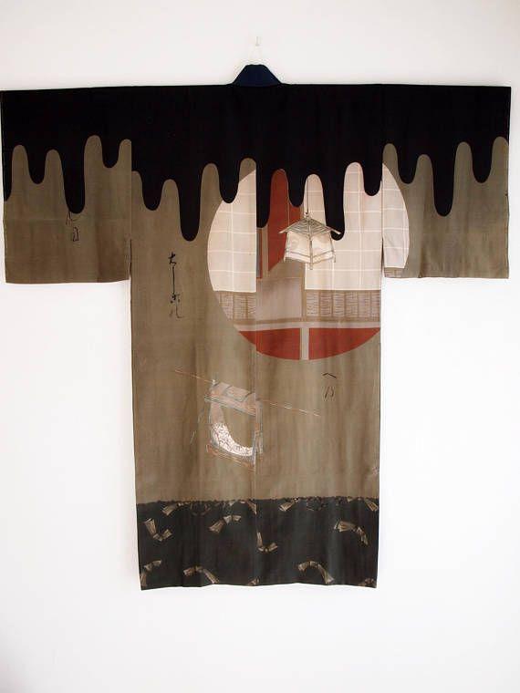 Nagajuban under kimono for men - Wall decor, silk crepe, gift for him, Men kimono, Japan, wearable art, collector