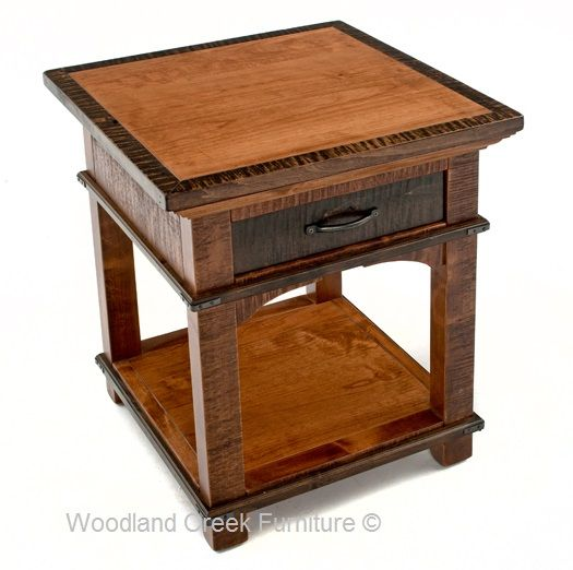This elegant rustic end table is made with sustainable and barn wood and features one drawer. Rustic craftsman side table or nightstand in custom made sizes