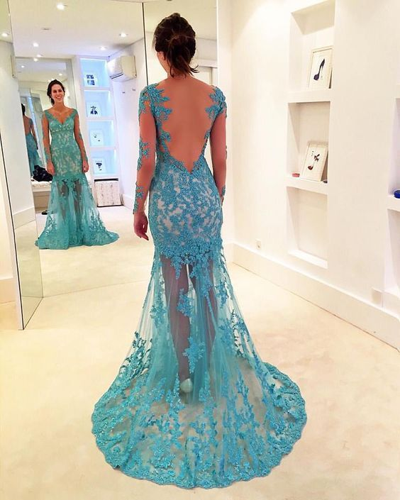 Tiffany Blue Prom Dress,Lace Prom Dress,Hipster Prom Dress,Backless Prom Fress,MA183