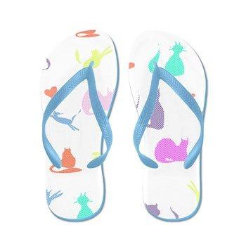 Rainbow Cats Flip Flops purrfect for the beach! #lyndseyart #rainbow #cats #thongs #FlipFlops #jandals #cafepress #cute