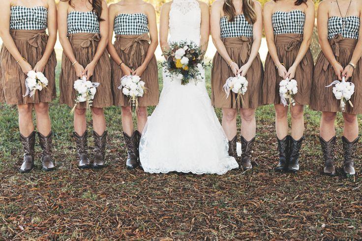bride, groom, wedding, bouquet, bridal, flowers, fall, autumn, plaid, rustic, hair, updo, dress, gown, suit, tie, bridesmaids, bridesmaid, plaid, cowboy, boots, cowboy boots, cotton, southern