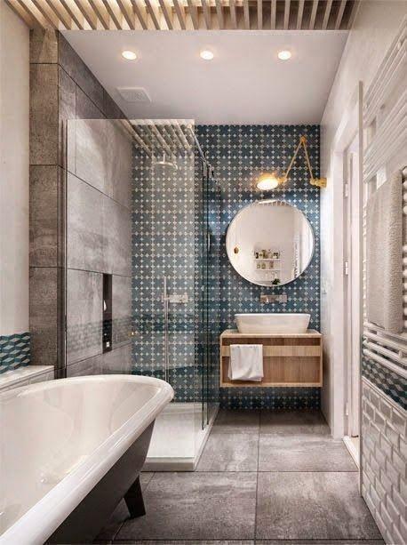 glass shower, interesting washstand, blue gray tile, stand alone tub master bathroom