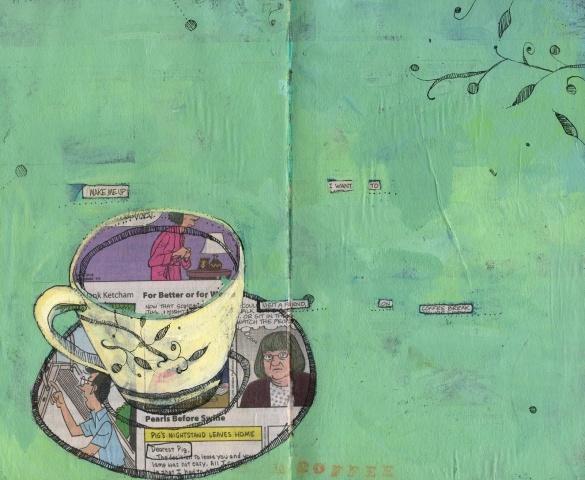tea cup collageTeas Cups, Art Journals, Journals Collage Art, Schools Art, Cups Teapots, Tea Cups, Teas Art, Teacups, Cups Collage