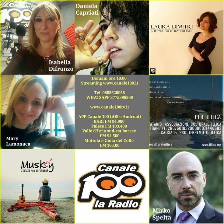 Domani ore 10.00  Streaming www.canale100.it  Tel 0805520058 WHATSAPP 3775396968  www.canale100tv.it  APP Canale 100 (iOS e Android) BARI FM 94.900  Palese FM 103.400  Valle d'Itria sud-est barese  FM 94.500 Mottola e Gioia del Colle  FM 105.00