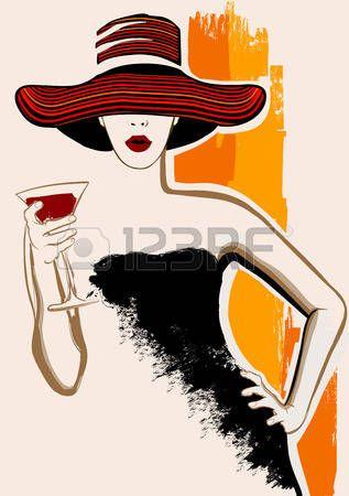 dibujo cara mujer  Mujer bonita con el sombrero grande que tiene coctel - ilustración  vectorial ef817a9b9d9