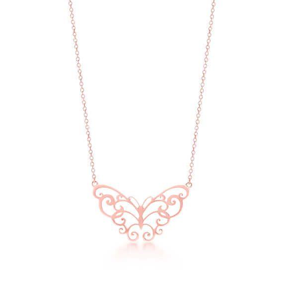 Tiffany Enchant® butterfly pendant in RUBEDO® metal.