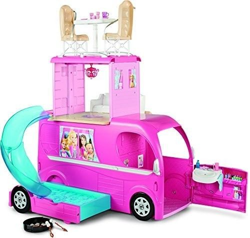 Barbie Camper Van Pop-Up Vehicle Conversion RV Three Story Playset Girls Toys #Barbie