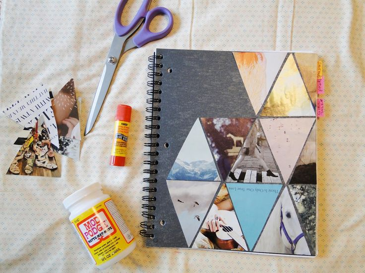 Booklet color decorated with triangles of various pictures (summer project for back to school notebooks)
