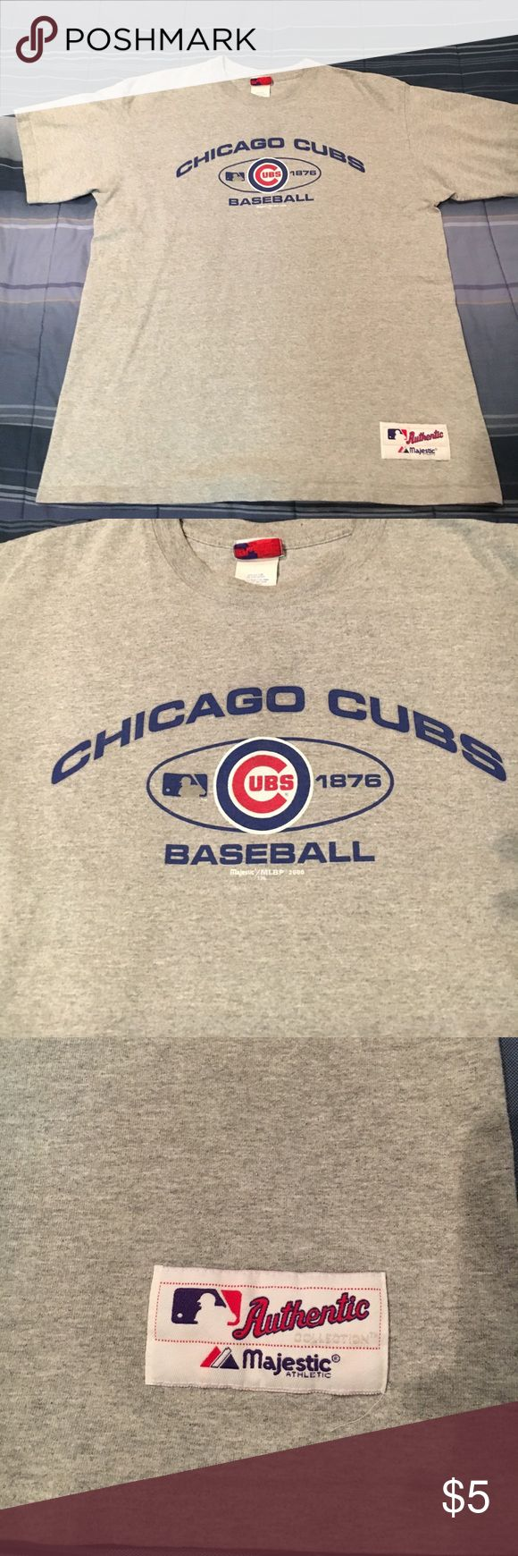 Men's Cubs T-shirt Grey Men's Cubs tee perfect for game day! In excellent condition!! Not asking for much, even though it was well kept! Perfect for the summer season! Majestic Shirts Tees - Short Sleeve