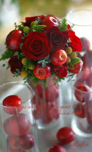 Adding apples for an interesting twist to floral arrangements