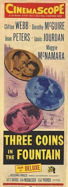 Three Coins in the Fountain (1954) immortalized on film the tradition of throwing a coin in the Trevi Fountain. There's a copy of this movie in the Spanish Steps Apartment.