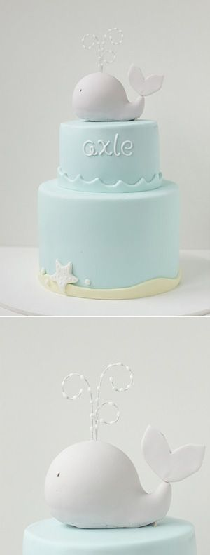 Simple baby cake....wouldn't this be an adorable cake for a Whale baby shower? So cute! I love the water spray coming out of the whale on top - too much!