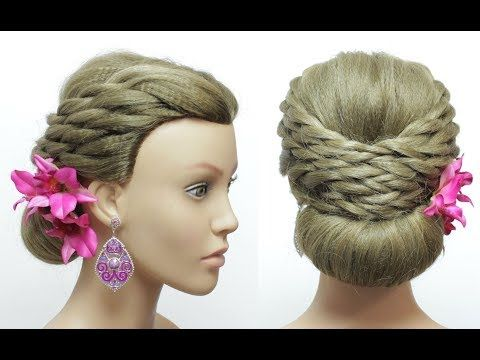 Bridal Prom Hairstyle For Long Hair Tutorial. Bun Updo With Twists. – YouTube