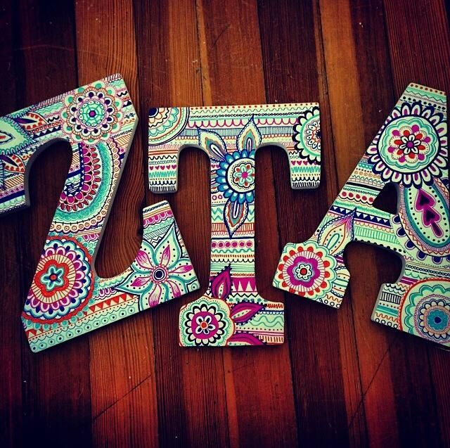 painted Greek letters- can do for Chi Omega