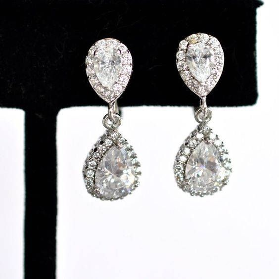 Handmade Classic Small CZ Clip-On Teardrop Dangle Bridal