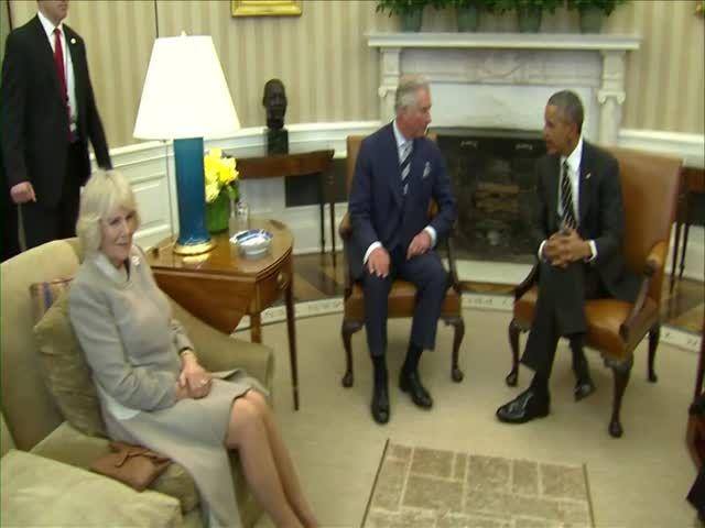 Obama Recibe Al Príncipe Carlos Y A Camila #Video