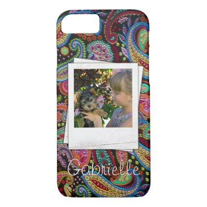 Fun Custom Paisley Floral Pattern Your Name Photos iPhone 8/7 Case - retro gifts style cyo diy special idea