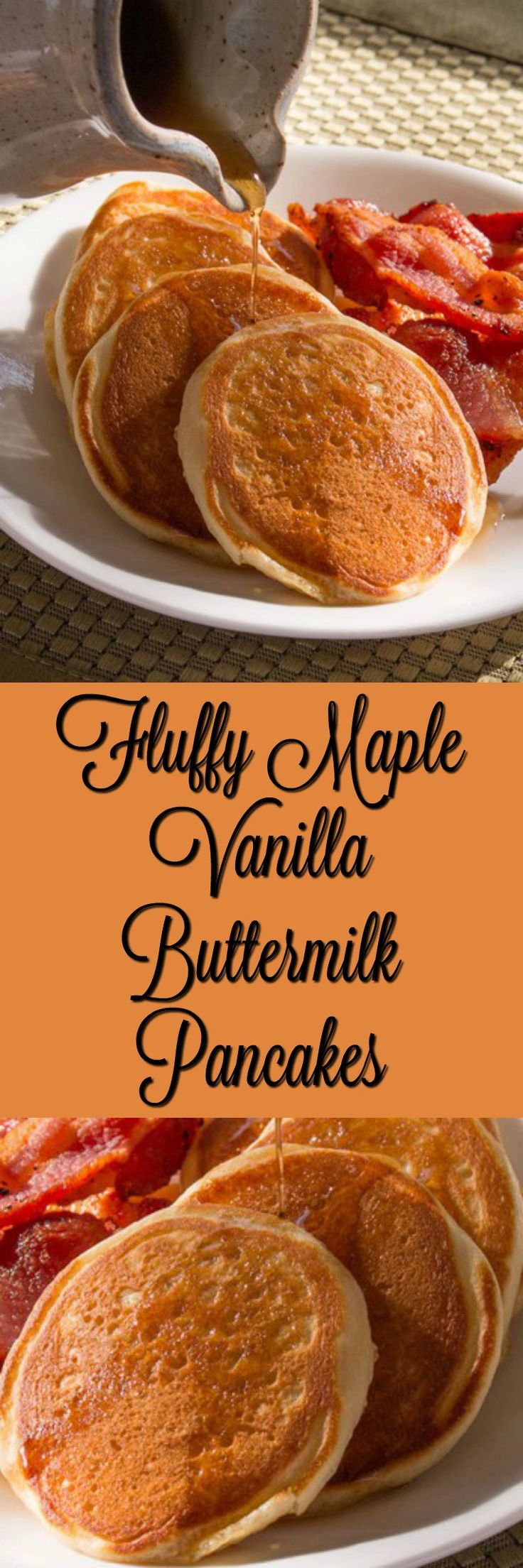 A delicious pancake recipe that features maple syrup, vanilla, and buttermilk.