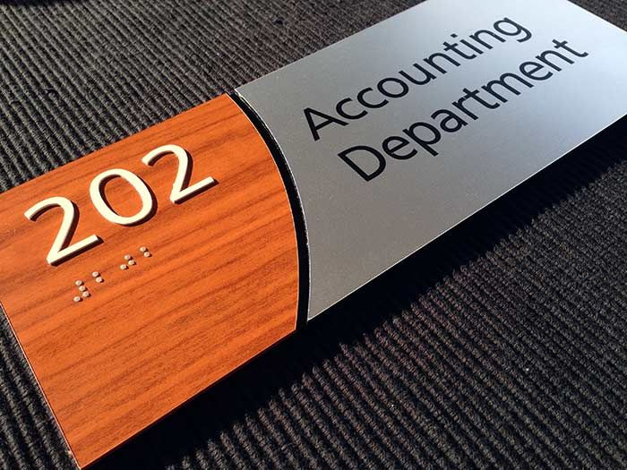 Custom ADA Compliant Room Identification Sign - Brushed Aluminum and Wood - from ADA Sign Depot.