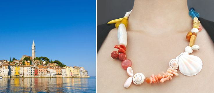 Rovinj, a beautiful charming city in Croatia, transformed into a summery Statement Necklace that captures the vibrant spirit of the Rovinj coasts.  A custom design made to capture the sweet memories, that the owner had in her home country together with her loved ones. All these memories are now so close to her