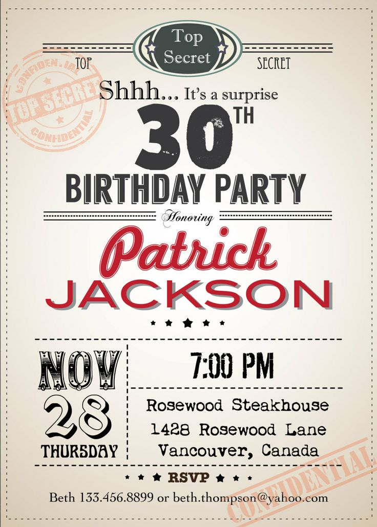 Top Secret Adult Birthday Invitation. 30th by ThePaperWingCreation, $15.00