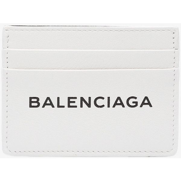 Balenciaga Leather Logo Cardholder (£230) ❤ liked on Polyvore featuring bags, wallets, evening bags, white bag, balenciaga wallet, white wallet and balenciaga bag