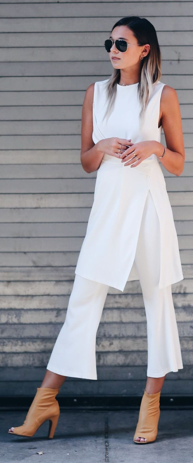 White Chic Flare Crop Pants Summer Set by We Wore What