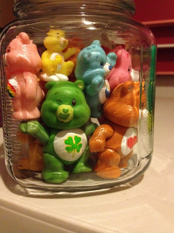 Large Gallon size Vintage Care Bears Toy Jar from 1980s Great Shelf Sitters