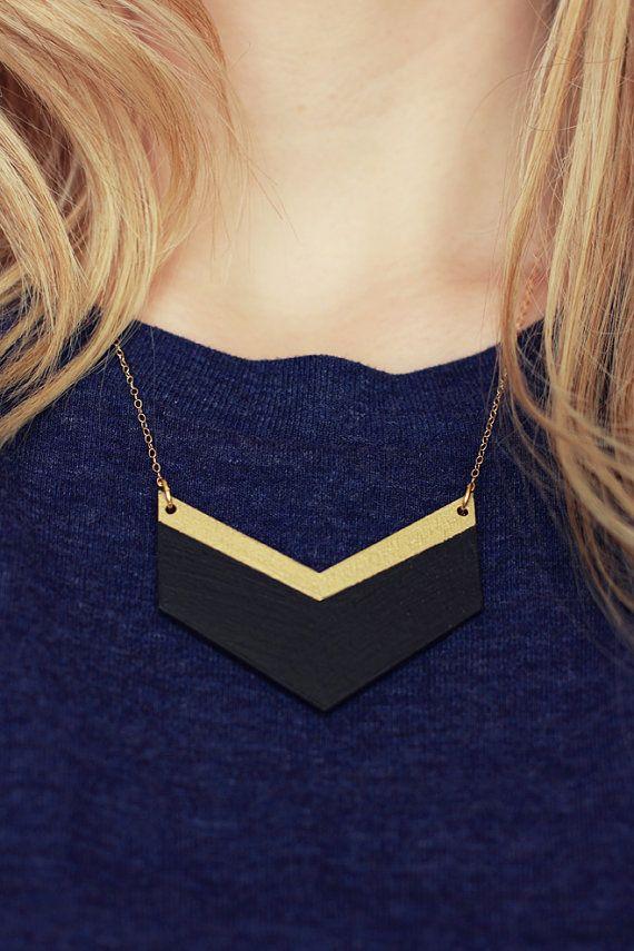 Wooden Chevron Necklace (Black - Gold) Geometric Shape Jewellery - Modern…