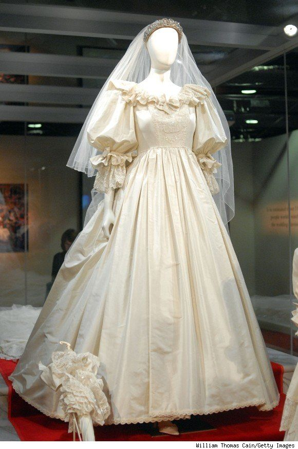 Diana's wedding dress was made from three different types of fabric, including high-quality taffeta made from silk woven on Britain's Lullingstone silk farm, more than 100 yards of tulle, and lace that once belonged to Queen Mary, which the designer and her mother hand-embroidered with more than 10,000 pearls and sequins.