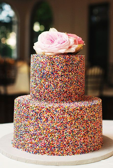 Sprinkle Wedding Cake with Nonpareils and Peonies. Thousands of colorful nonpareils and a sweet pair of peonies on top? What's not to love?