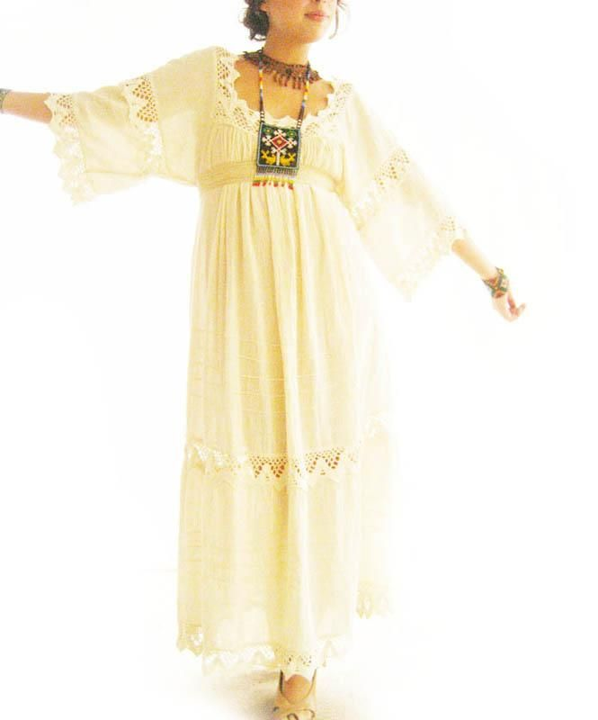 Handmade Mexican embroidered dresses and vintage treasures from Aida Coronado Mexico crochet dress A heart in every piece