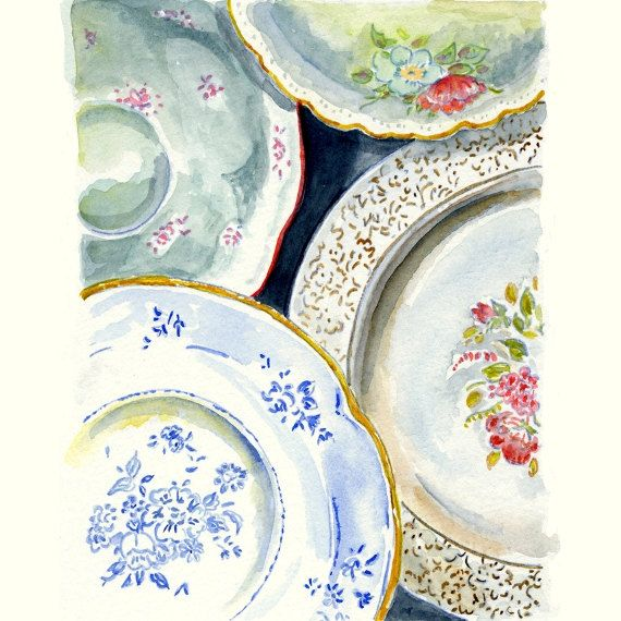 Still Life Kitchen Decor of Original Watercolor Painting -- Vintage Plates 2. $25.00, via Etsy.