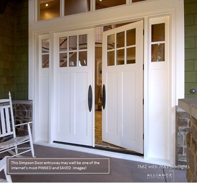 Simpson door 7662 double entryway w 7663 sidelites for White wooden front doors